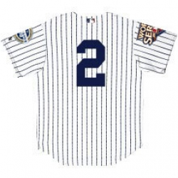 2009 World Series Yankees Authentic Home Jersey Customized with both Patches and Numbers