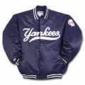 Youth Yankees Dugout Jacket Satin Quilted with Snap Buttons