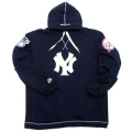 22 Navy Hooded Yankees NY Pullover with 2 Patches