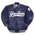 04 Adult New York Yankees Dugout Jacket Satin Quilted with Snap Buttons