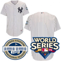 2009 World Series Yankees Authentic Home Jersey Customized with both Patches - Plain on Back