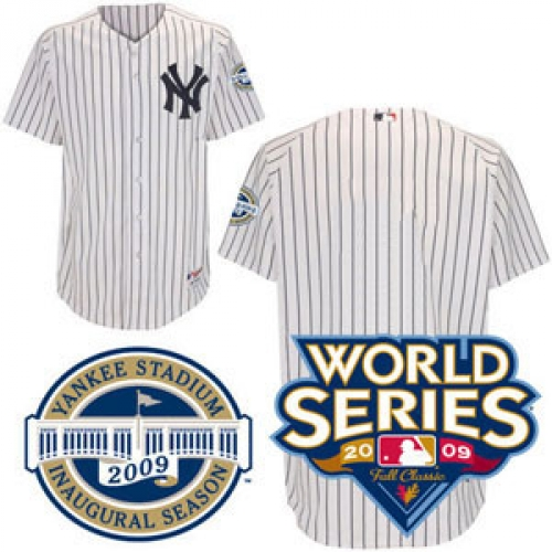 2009 World Series Yankees Authentic Home Jersey Customized with both  Patches - Plain on Back 6dbe1193a5b